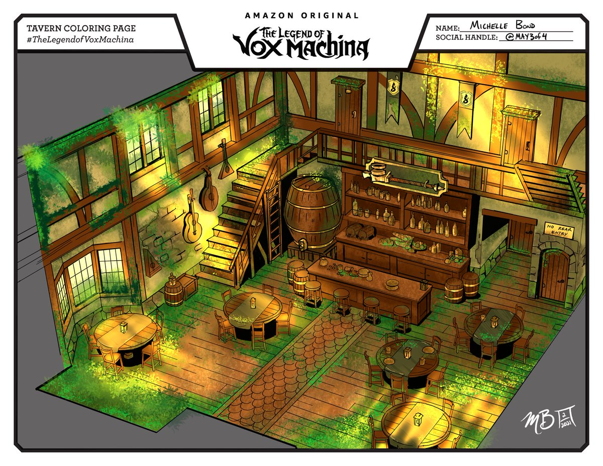 05, 06, 07- Nature reclaiming the tavern One inviting, one gloomy, and one mysterious night Color Study practice with #procreate using #TheLegendofVoxMachina Coloring page from @CriticalRole