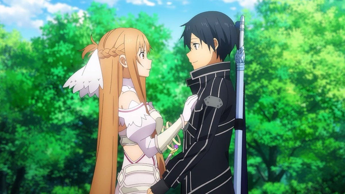 The perfect couple gazing in each other's eyes.  #SwordArtOnline #sao_anime