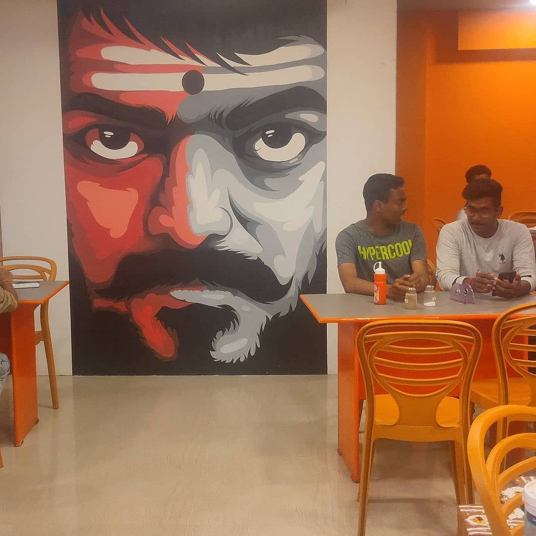 Where is it ? A restaurant filled with Thalapathy pics all over 😎 😍 #Master @actorvijay 💙