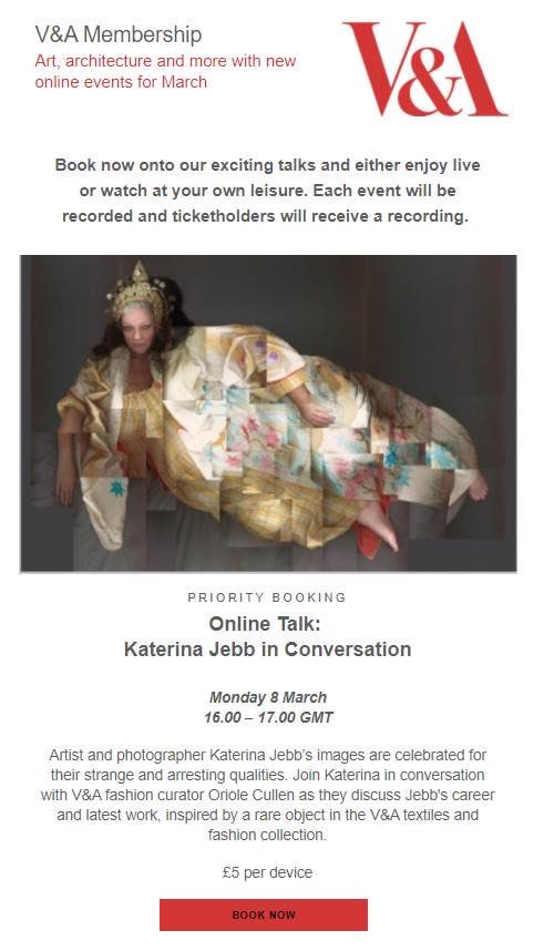 My forever friend, the incomparable #KaterinaJebb is 'in conversation' with our beloved @V_and_A on Monday 8th. Grab yourself a £5 ticket and dive into her art AND support this incredible institution. I. CAN'T WAIT!!! 🌟 https://t.co/oxb0GfQ3ut https://t.co/uNDDVSxCZT