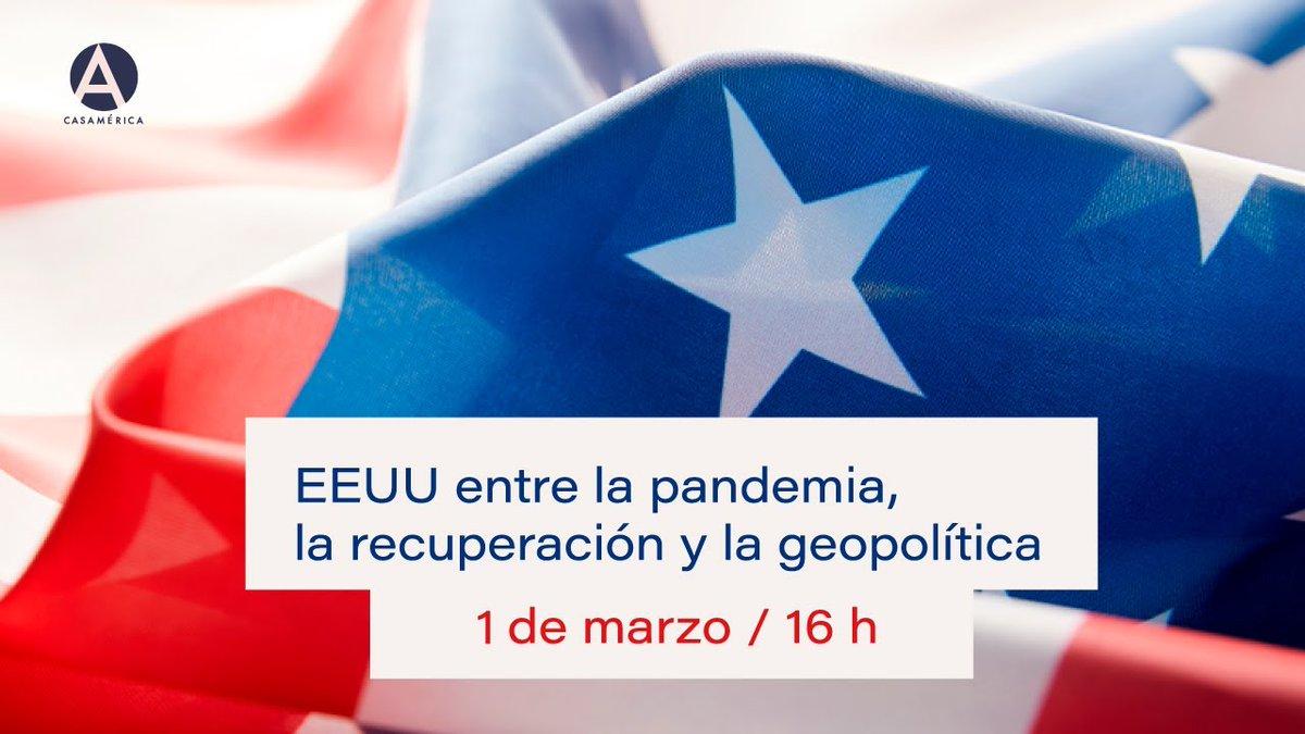 """📣 ¡Recuerda! 👉 Sigue hoy en directo el diálogo 🇺🇸🗨️ """"#EEUU entre la pandemia, la recuperación y la geopolítica"""" en @casamerica ▶️   👥 Con el SE de @EspanaGlobal, @manuelmunizv, y el Presidente de @StanChart, José Viñals.  Más ℹ️"""