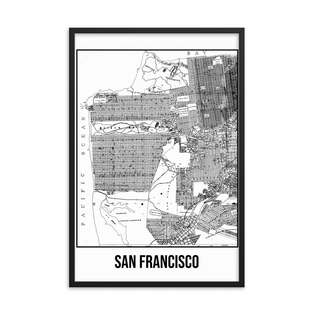Retweet and Follow to enter our monthly #vintage #travel #poster #giveaway  #Framed San Francisco Antique Paper Map White      #etsy #vacation