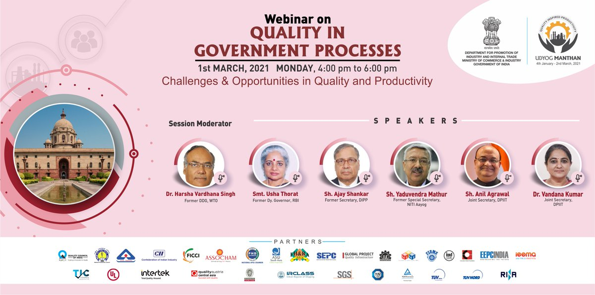 #UdyogManthan Join us for the webinar on Quality In Government Processes Industry & gain expert insights on improving #Quality & #Productivity. Watch Live: YT : bit.ly/um-quality Web: udyogmanthan.qcin.org 📅 1-03-2021 ⏰ 4 - 6PM #AatmaNirbharBharat #MakeInIndia