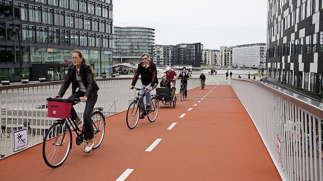 """""""While Mayor, I was often asked 'how have you been able to afford this in #Copenhagen?' I'd reply, 'how have you been able to NOT afford it? 25 years ago we were a few days away from going bankrupt. So the city invested in the cheapest infrastructure — bicycling."""" — @mortenkabell"""