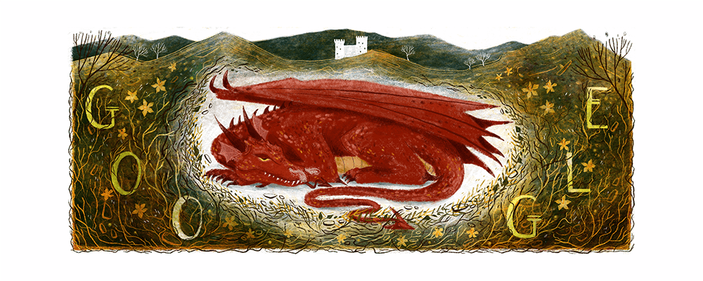 Happy St. David's Day, Wales! 🏴  Ever wondered why there is a red dragon on the Welsh flag🐲? Find out with today's #GoogleDoodle, inspired by one of Wales' most famous tales 📜 →   🎨 by guest artist Elin Manon