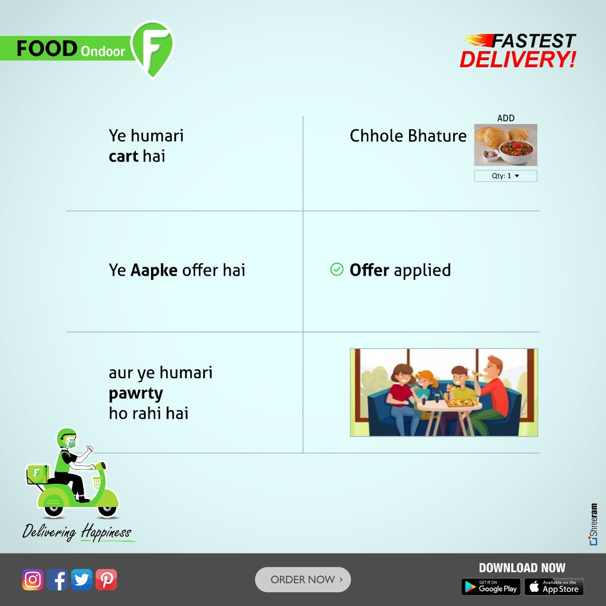 Non-stop party with Foodondoor. Grab extra discounts & fastest delivery. Order Now!! Download the app  @FoodOndoor  #foodlover #love #free #partytime #delicious #EatLocal #FastFoodies #FastFood #mondaythoughts #bhopal #DeliveringHappiness