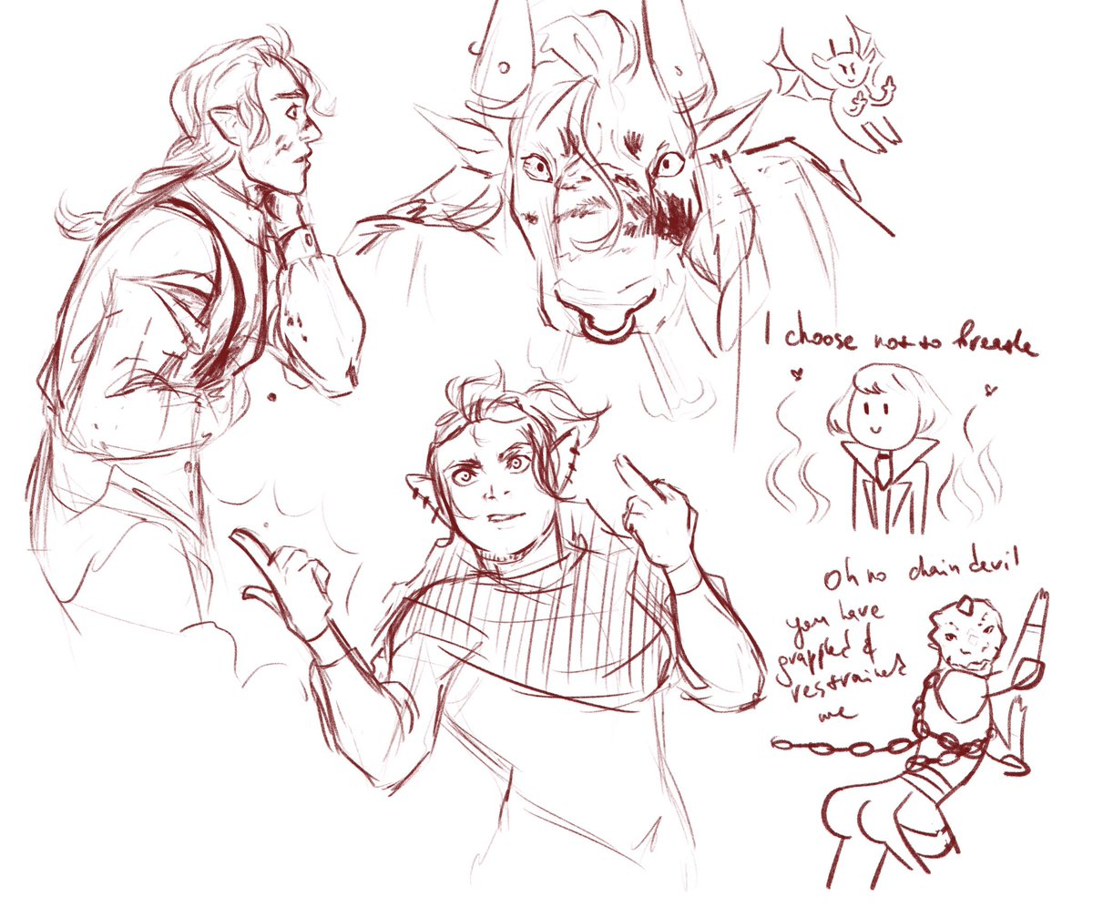Replying to @tharannas: just a bunch of sketches from the last d&d game