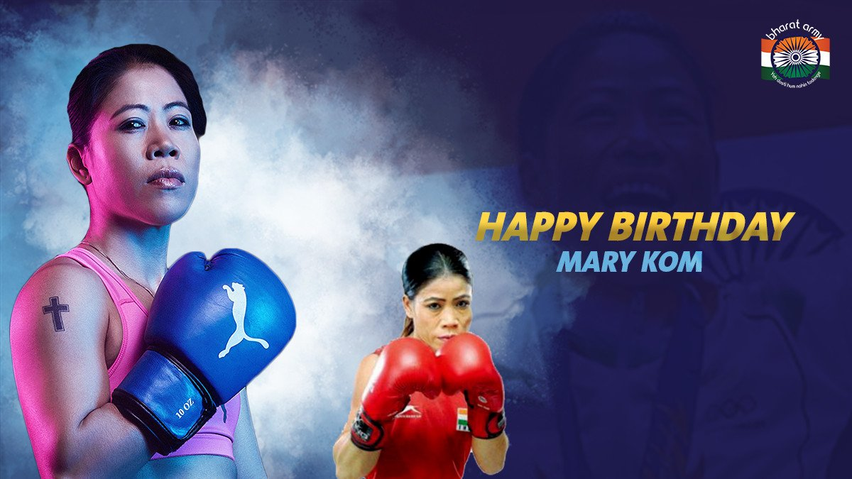 ❤️👊 HAPPY BIRTHDAY, QUEEN! Here's wishing all the best to the legend that is Mary Kom on her 38th birthday!  📸 FootyRenders/Khelnow • #marykom #happybirthday #boxing #BharatArmy