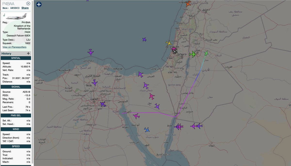 LNA/Haftar related Sonnig Jet Dassault Falcon 50EX P4-BAA from NE Libya descending to Amman, Jordan; 01Mar2021 around 0900 hrs UTC. #LNA #P4BAA #Jordan  #Libya