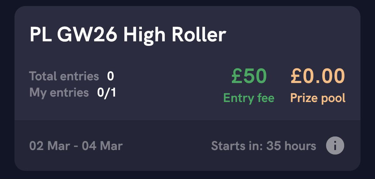 Contests now listed for midweek including:  £750 card drop #2 ♻️  3* Trainee contests 👶  A trial single entry, £50 high roller🤑   March PL&FA Cup Trio (starts Saturday) 3️⃣  #Footstock #PremierLeague #FACup