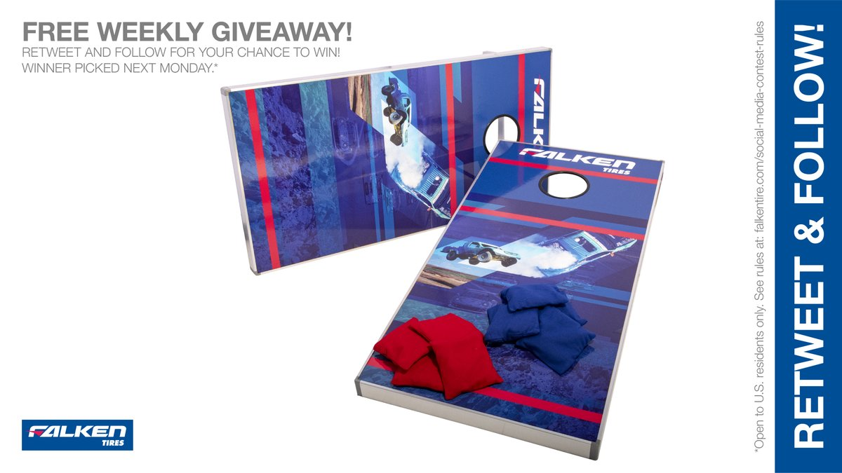 Falken #Free weekly bean bag toss game #giveaway #contest. RT & follow #FalkenTire to enter to #win this #prize or other #swag! #cornhole Day 1 Rules: