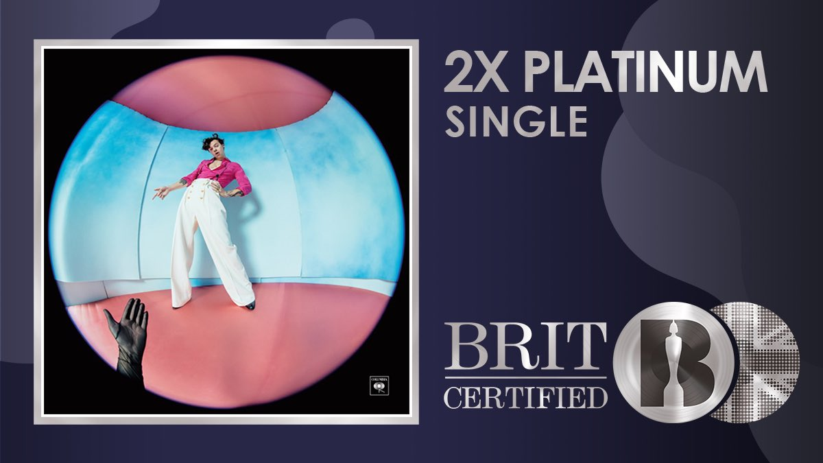 🍉@Harry_Styles' huge single 'Watermelon Sugar' (co-written with @kidharpoon and #MitchRowland) is now #BRITcertified 2x Platinum! 💿💿   @BRITs #Harrystyles #watermelonsugar
