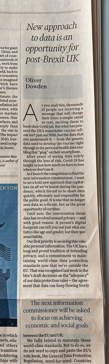 ✍️ My piece in today's @FT - Data has helped us save lives in the pandemic, we should embrace it in the recovery and beyond   We are launching the search for the next Information Commissioner who will focus on both privacy and better use of data     #data