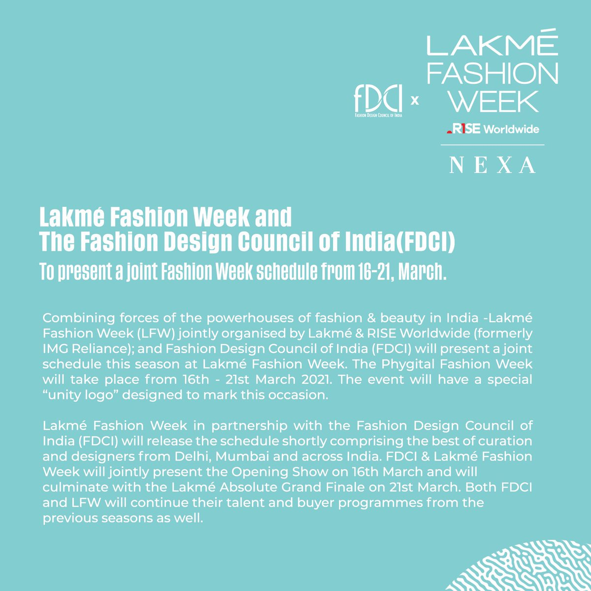 Lakmé Fashion Week and the Fashion Design Council of India (FDCI) have decided to join forces to bring to you a first-ever joint initiative - A Phygital Fashion Week.  @LakmeFashionWk @fdciofficial #LakmeFashionWeek #5DaysOfFashion #LFW #LFW2021