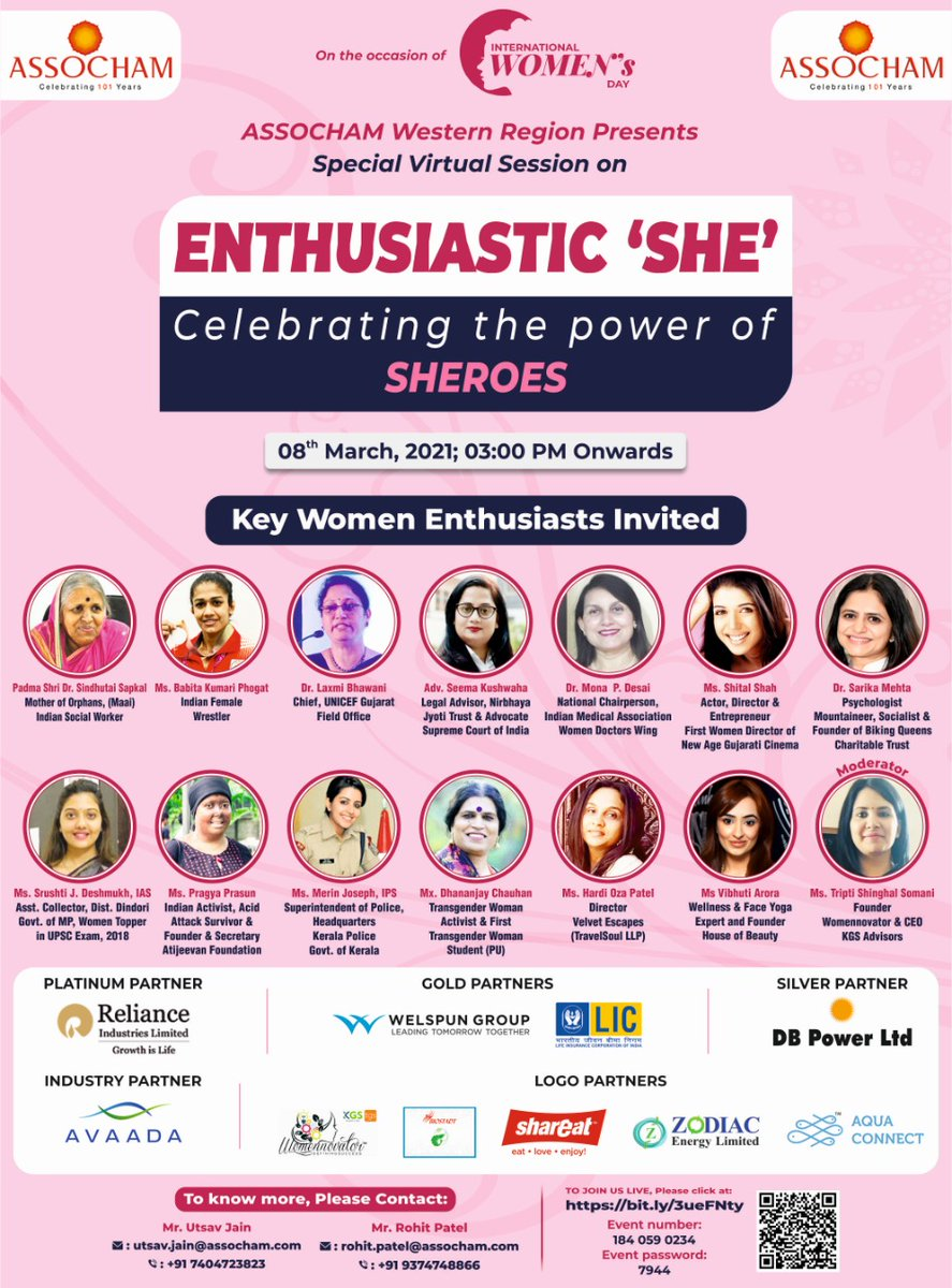 #ASSOCHAM is delighted to announce a Power-Packed Virtual Session on ENTHUSIASTIC SHE- Celebrating the Real Power of SHEROES. Aiming to discuss more ways for Indian Women to empower & becoming real #AATMANIRBHAR. #WomensDay #ASSOCHAM_IWD_SHEROES 🔗:bit.ly/3ueFNty