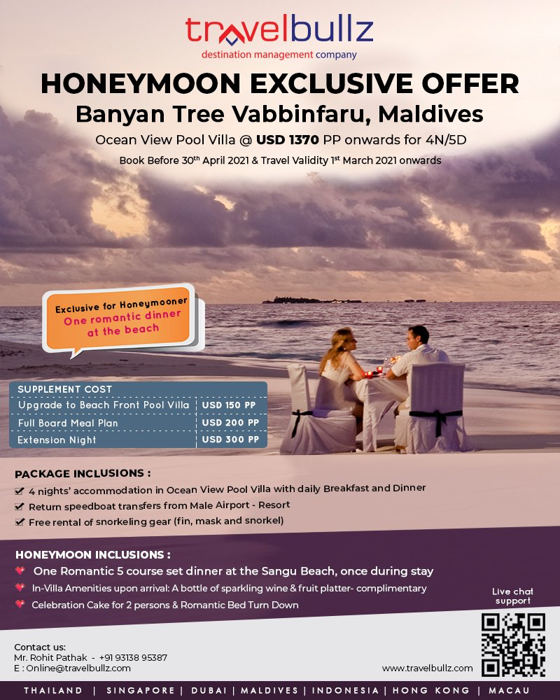 Honeymoon Exclusive Offer || Banyan Tree Vabbinfaru, Maldives  #maldives #travel #maldivesislands #visitmaldives #beach #maldivesresorts #nature #travelphotography #paradise #travelgram #sunset #ocean #maldiveslovers #love #sea  #islandlife #island #maldivesisland #travelbullz