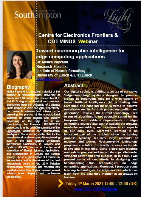 "test Twitter Media - 📢 Very much looking forward to the @CElFrontiers and @CdtMinds #CEFSeminar on Friday with Dr Melika Payvand #WomeninSTEM   ""Toward neuromorphic intelligence for edge computing applications""   Link below   👇👇👇  https://t.co/blFdCzl0MM https://t.co/tDOOFMB8mD"