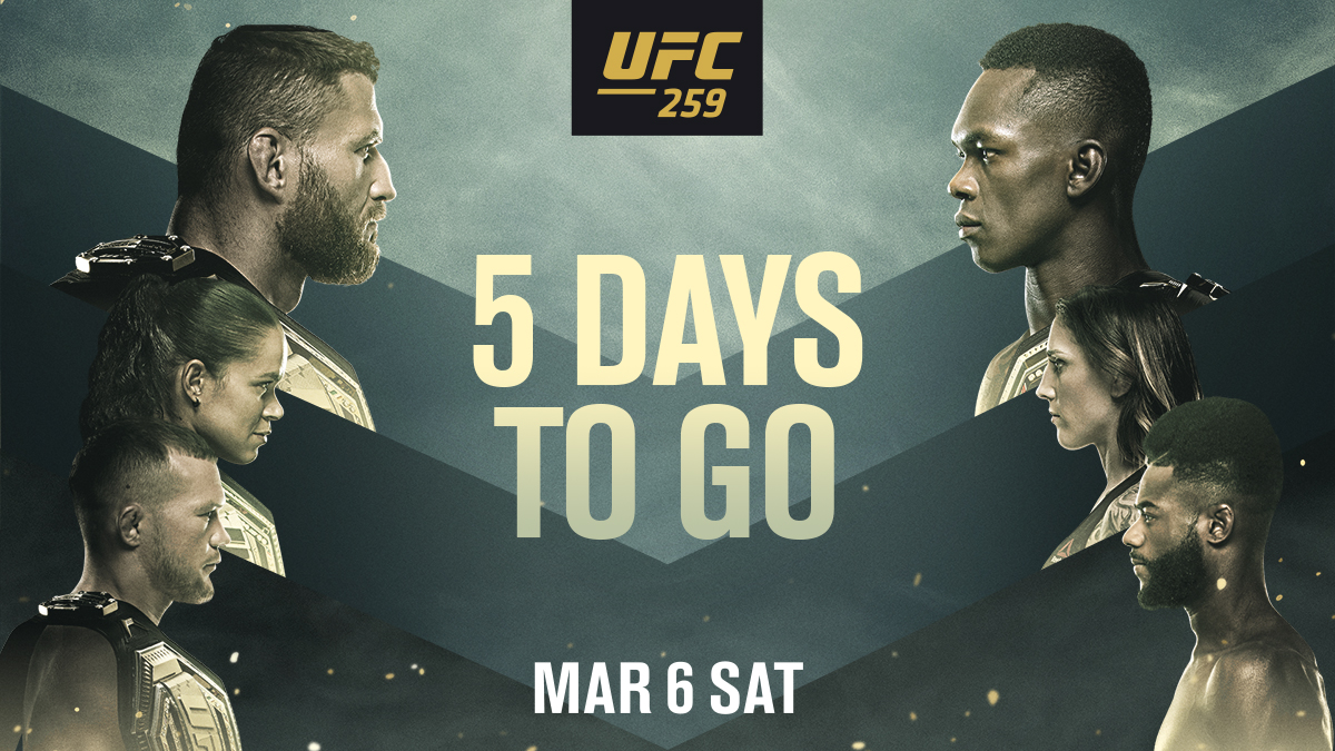 Replying to @UFCEurope: FIVE DAYS‼️ THREE TITLE FIGHTS‼️  #UFC259 IS STACKED‼️