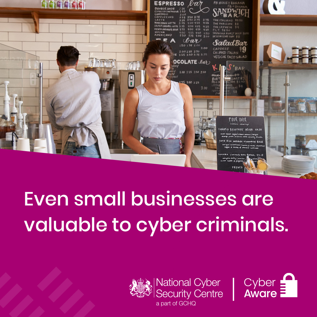 When it comes to hackers, there's nothing small about small businesses. If you're open for business online, you could be open to cyber attacks.   Stay #CyberAware and visit https://t.co/p6c4NjMgHW https://t.co/MXXEhP7MeN