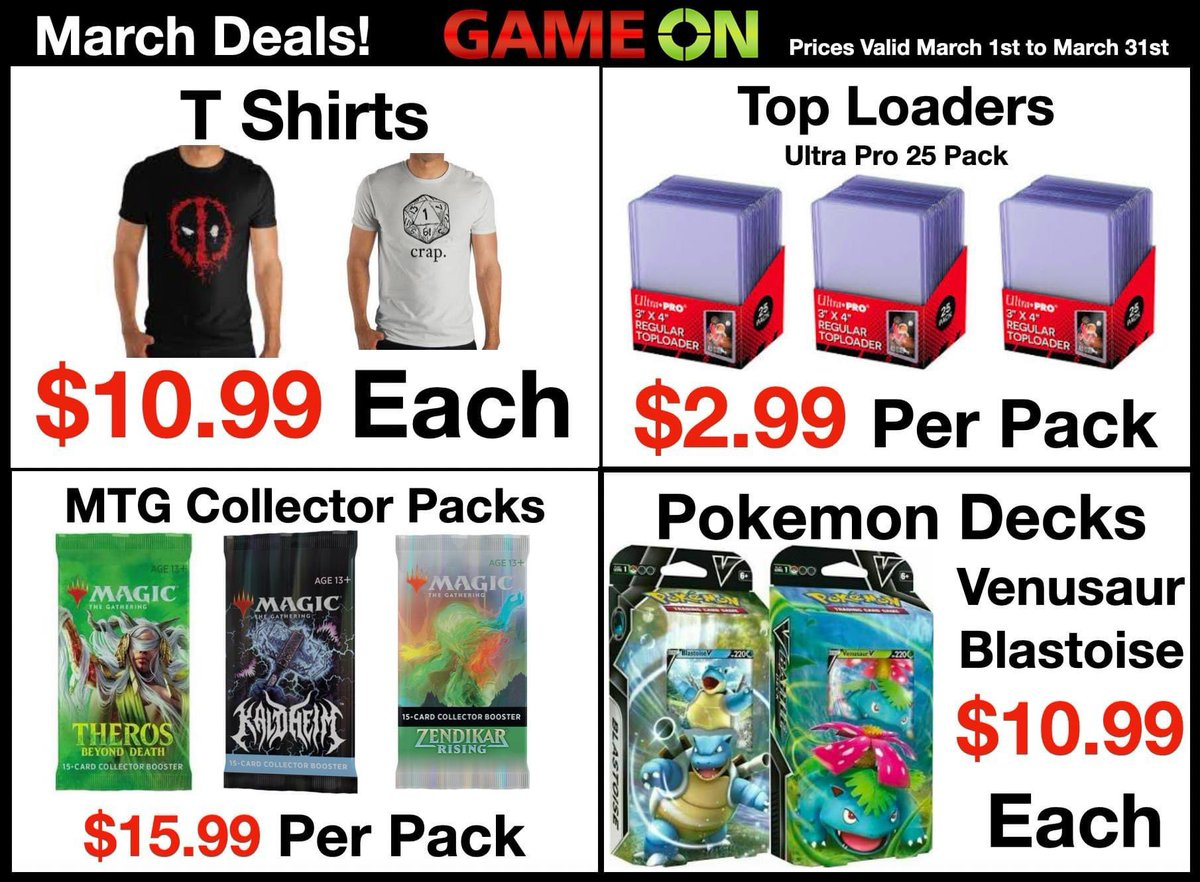 """🍀☘️Lucky March #Deals! ☘️🍀  Snow is melting and we're just warming up with our deals this month!  🍀 All #TShirts just $10.99 each! ☘️ 3""""x4"""" #TopLoader Card Protectors are just $2.99 per pack! 🍀 All In-Stock #MTG #CollectorBoosterPacks just $15.99 per pack!"""