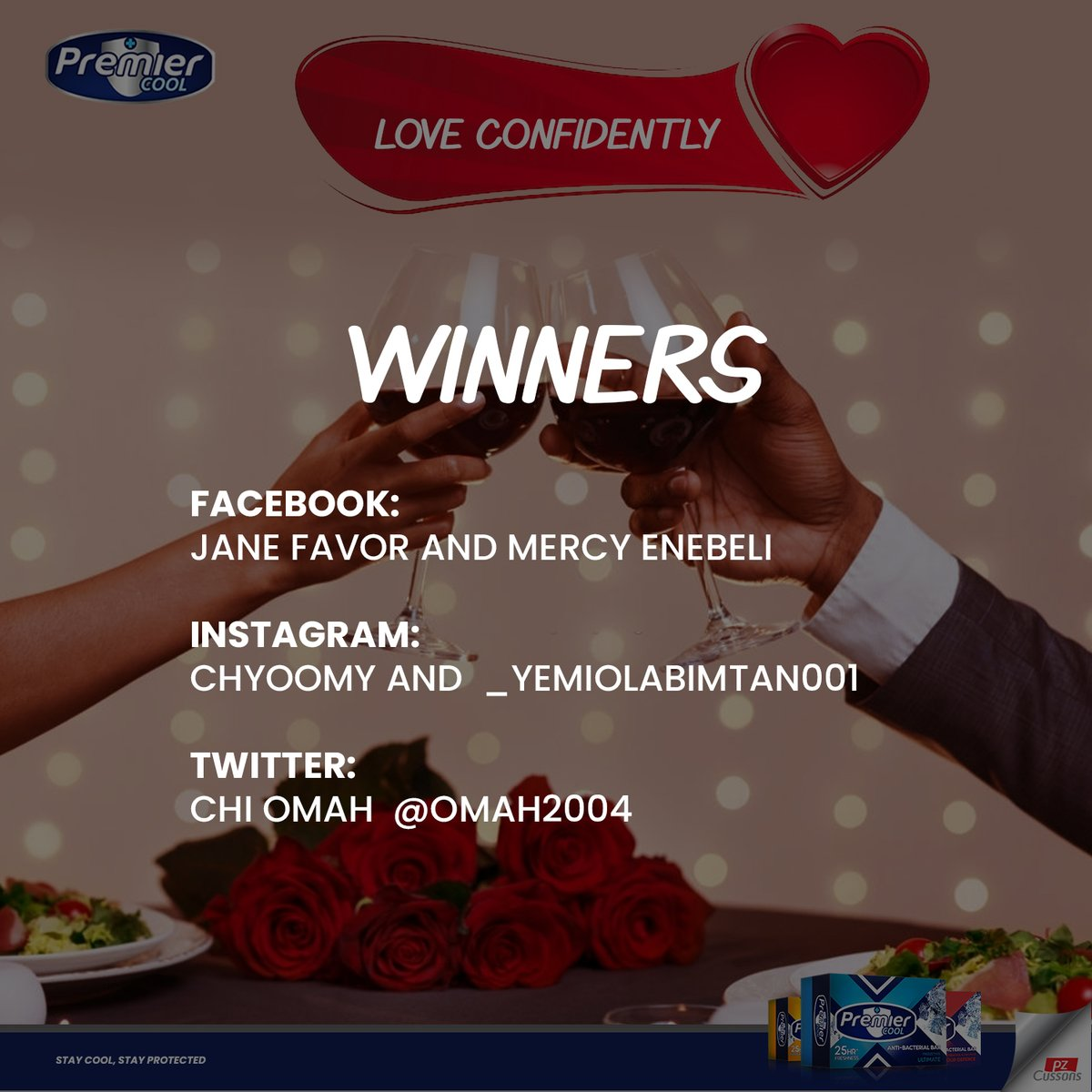 What's good cool gang!  Here are winners from our valentine trivia. Congratulations guys. Please send in your details to get rewarded.  Stay Cool Stay Premier Cool  #StayProtected #Winners #Love #Valentine #StayPremierCool