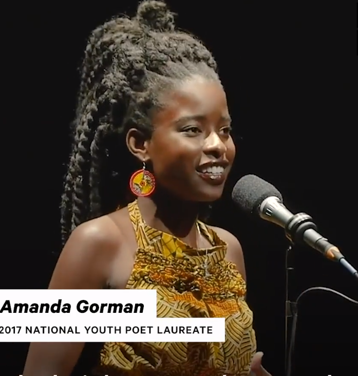 #AmandaGorman ❤️'In my head, I saw myself loud and proud on a stage in front of a crowd, proving that a girl who's Black, and skinny, and geeky, and had a speech impediment could make it to Broadway.' ❤️