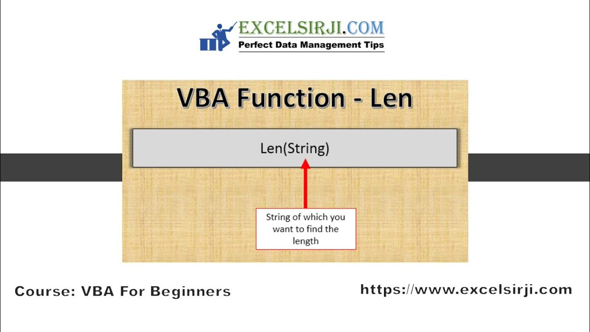 Len Function in #Excel VBA  Click here to watch👉   Please Like | Share | Subscribe   #excel #msexcel #exceltraining #freeonline #excelgiri #exceltips #training #Macro #free @FormuleExcel @msexcel @exceltricks @Excel_Guru @excel_2016_en @msexceltraining