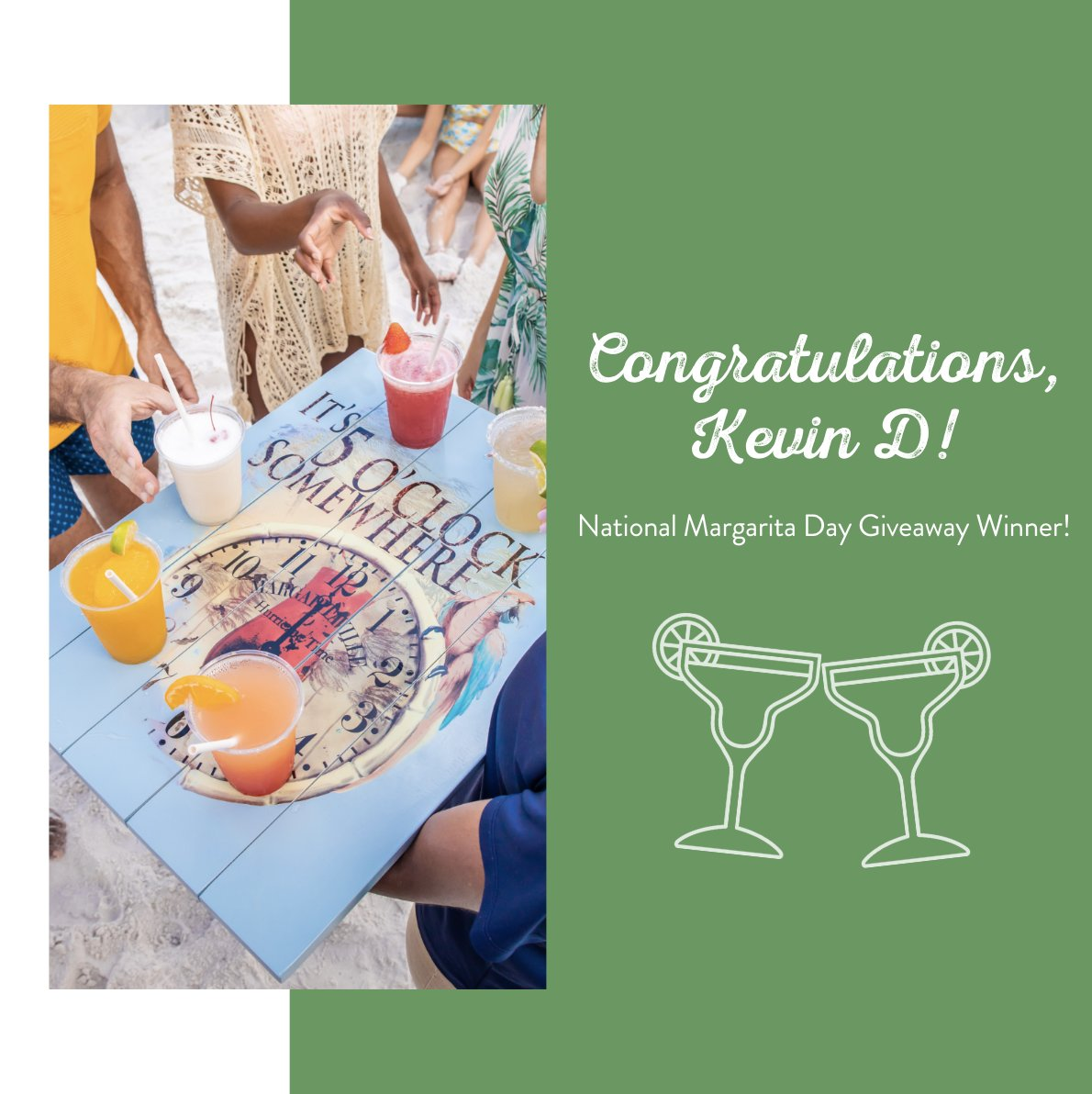 Congratulations to Kevin Dicey on winning the #NationalMargaritaDay giveaway on our FB! Follow us so you're the first to know when we announce the next giveaway! 🌴🦜