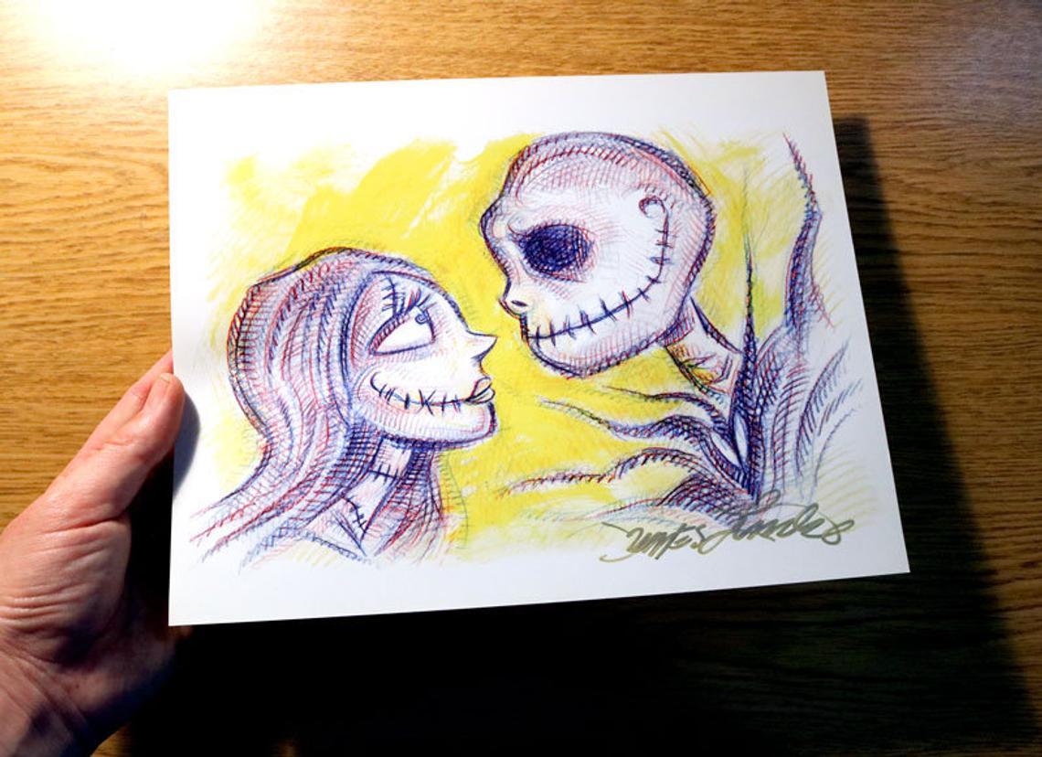 """JACK & SALLY."" 💕 Signed Art Prints, available at my Online Etsy Shop:  🎃🎨🦇 #Lincke #JamesLinckeCreations #Art #artist #illustration #portrait #drawing #painting #JackAndSally #love #horrorart #Halloween #Christmas #smile #MondayMotivation"