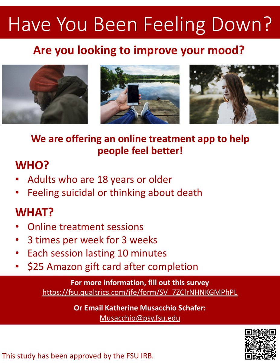 Are you looking for #affordable or even #free #mentalhealth #treatment.   Researchers at FSU have created a free treatment app. Lasting 3 times a week for 3 weeks. See the link below.