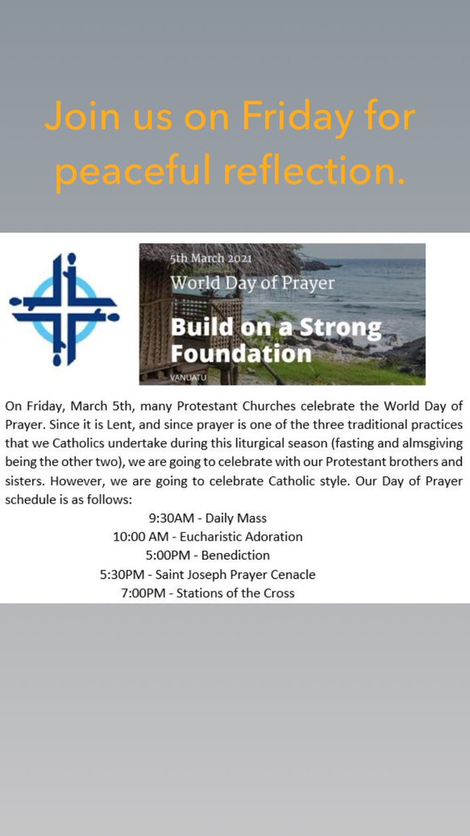 We look forward to seeing you on Friday, March 5.  #worlddayofprayer #LentenSeason #prayerlife
