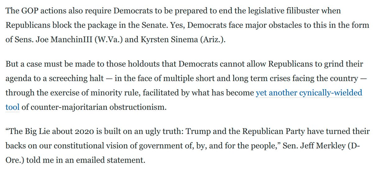 The Big Lie about 2020 is built on an ugly truth: Trump and the GOP have turned their backs on our constitutional vision of government of, by, and for the people. @JeffMerkley, to me. Taking this seriously obligates Dems to pass democracy reforms: washingtonpost.com/opinions/2021/…