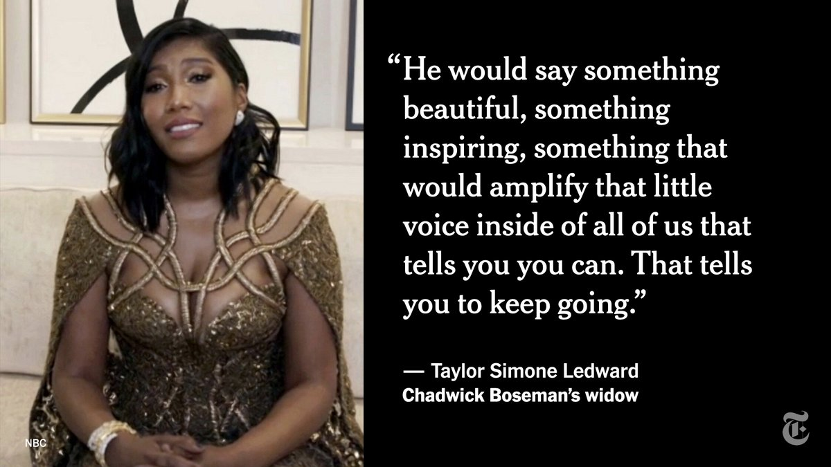 Chadwick Boseman's widow, Taylor Simone Ledward, accepted the Golden Globe for best actor in a motion picture drama on his behalf. Her raw and emotional acceptance speech was by far the night's most honest moment, writes our media reporter @nicsperling.