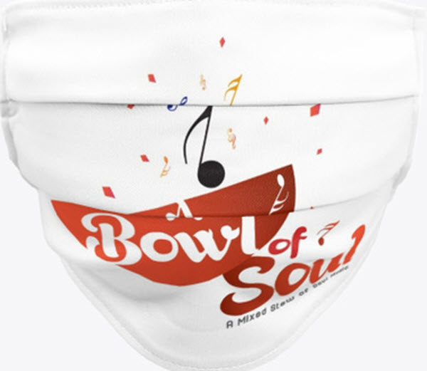 Get your A Bowl of Soul A Mixed Stew of Soul Music Swag Face Mask, T-Shirts, Mug and Fanny Pack.  #facemasks #tshirts #mug #fannypack