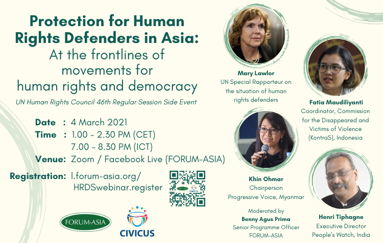 """📅 Don't miss @forum_asia's online event """"Protection for #HumaRightsDefenders in Asia,"""" with UN Special Rapporteur @MaryLawlorhrds and @PVamplify Chairperson Khin Ohmar. Join them this Thursday, March 4, at 1:30 pm CET.  Register here👇: https://t.co/XYl5Dn6T6o"""