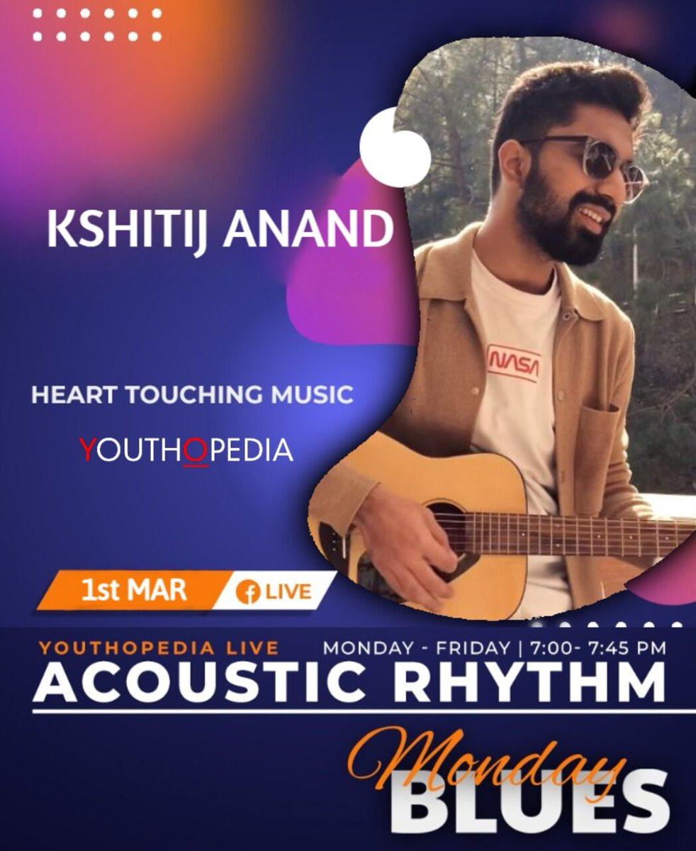 Let the heart touching music of Kshitij Anand make you forget about your stressful Monday. Stay tuned for his live session on our fb Page! . . . . #acoustic #acousticrhythm #hindisongs #musical #wednesdayvibes #wednesdaywisdom