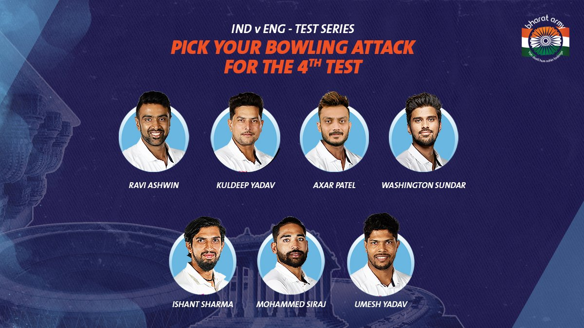 🇮🇳 HAVE YOUR SAY! What should our bowling attack look like in the upcoming Test match? Let us know⬇️  📷 Cricket Australia • #INDvENG #motera #Bharatarmy