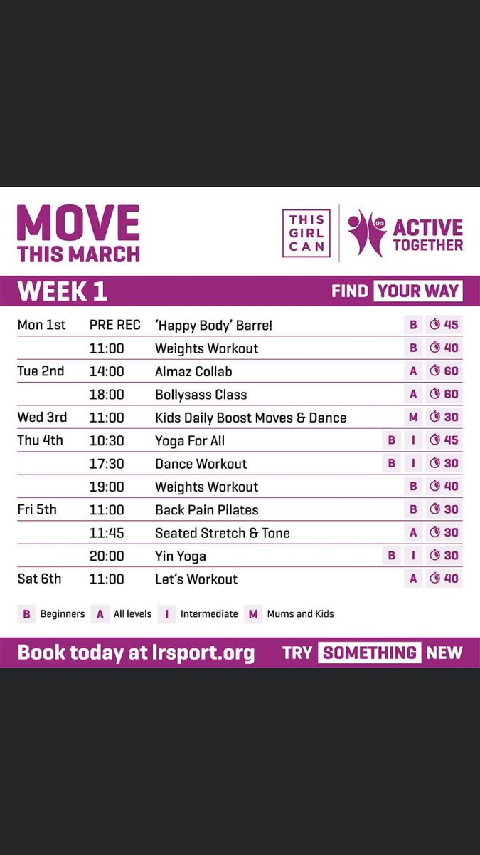 Don't forget that #ThisGirlCan is taking place all throughout March and @LR_Sport have some fantastic opportunities for you to get involved! Take a look at this week's timetable! 👱🏼♀️👵🏼👩🏻🦱💪🏼 #GetActiveGetHealthy