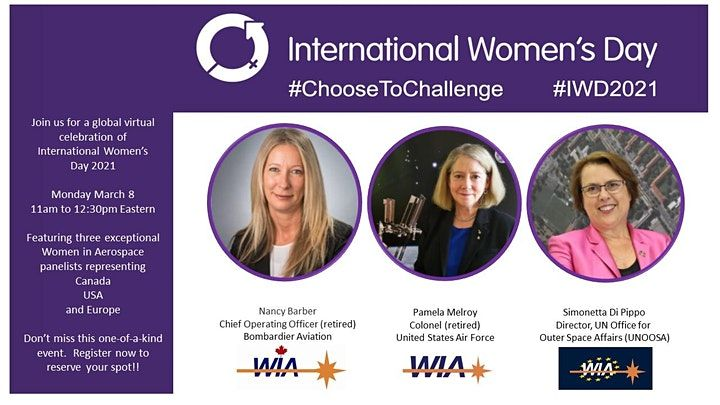 We are thrilled to announce a global virtual Women In Aerospace event, which will bring together members from different WIA organisations to celebrate International Women's Day 2021. Join us! #ChooseToChallenge buff.ly/3kvWjBe