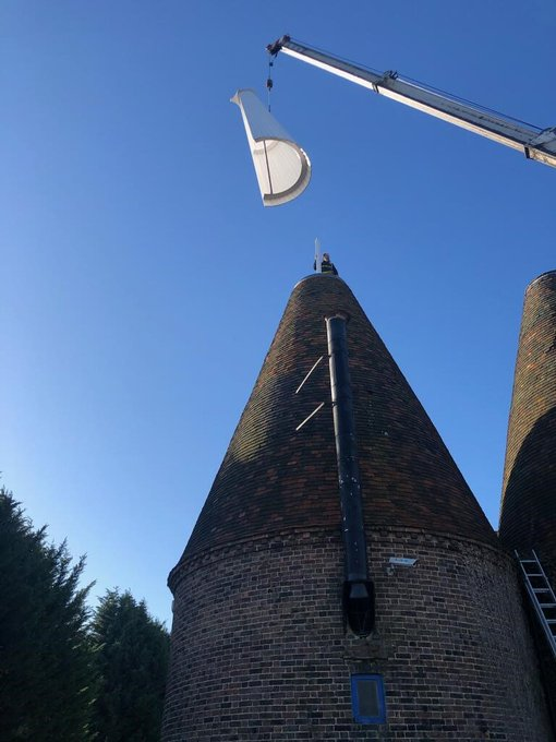 Restoration news! As part of continued preservation & restoration of our iconic, historic buildings, we have just completed the refurbishment of our Oast Cowls on our Bell 2 building, following our finished work on Bells 1 & 3. #preservehistory...