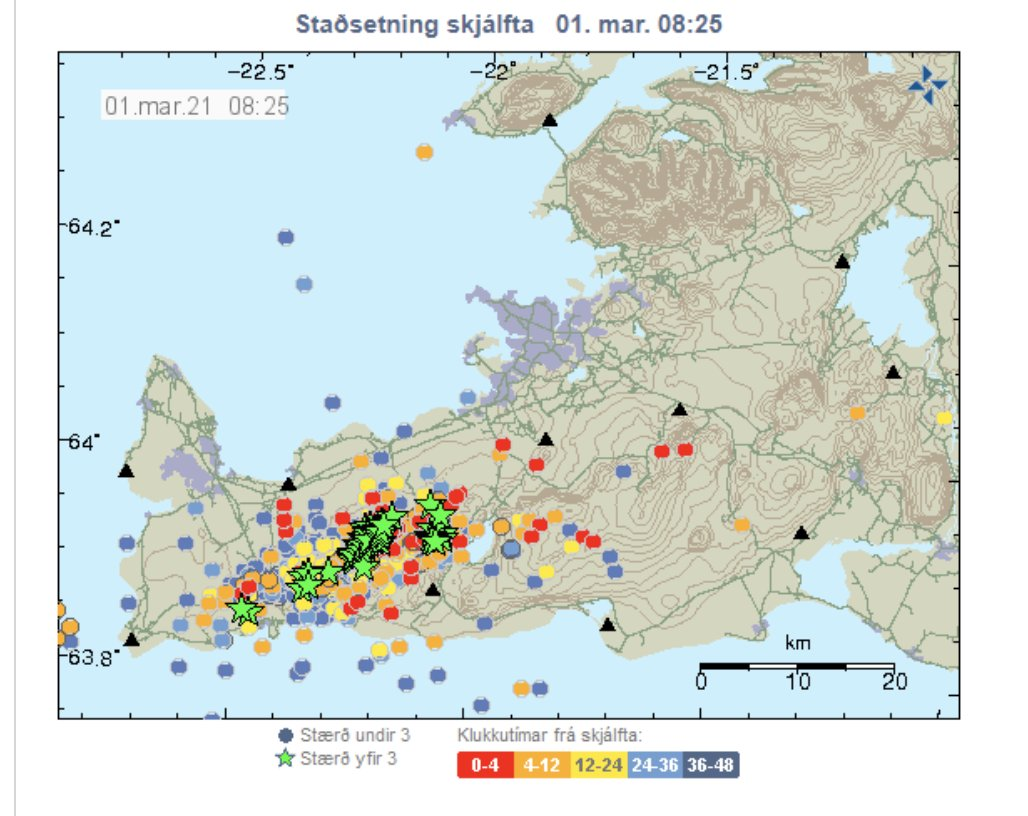 An overnight earthquake map from #Iceland - over 800 quakes, largest one 4.9! Can't deny that the dog and me are both a bit shaken and sleep deprived after 5 days of this. Mother Nature continues to teach us to expect the unexpected - the theme for this decade! #mondaythoughts