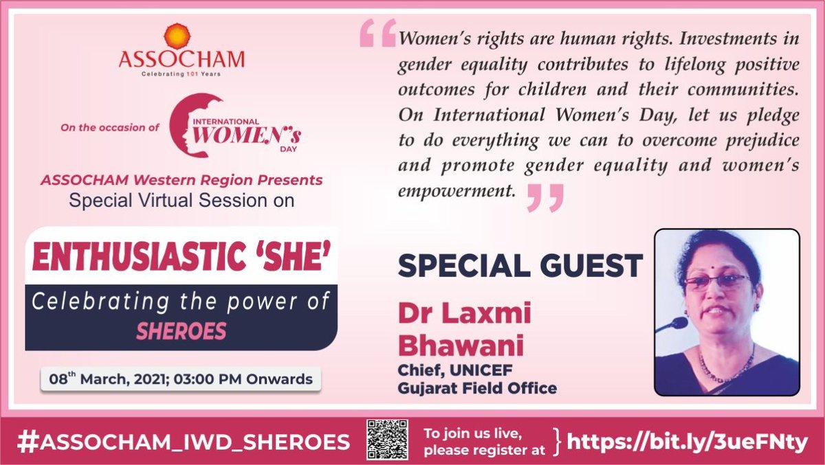Equality Justice Respect Dignity Peace Safety Inclusion Women Rights are Human Rights! Join @UNICEFIndia (Gujarat Field Office) Chief @lbhawani as she address #ASSOCHAMs Enthusiastic SHE- Celebrating the Real Power of #Sheroes. Register Now! bit.ly/3ueFNty