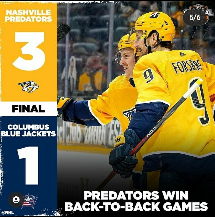 ➡️ NASHVILLE PREDATORS VS COLUMBUS BLUE JACKETS= 3-1 ➡️: the nashville predators win and go 10-11-0 (22nd place in league) (6th place in division) ➡️: the columbus blue jackets lose and go 8-10-5 (21st place in league) (5th place in division) #PREDS #CBJ