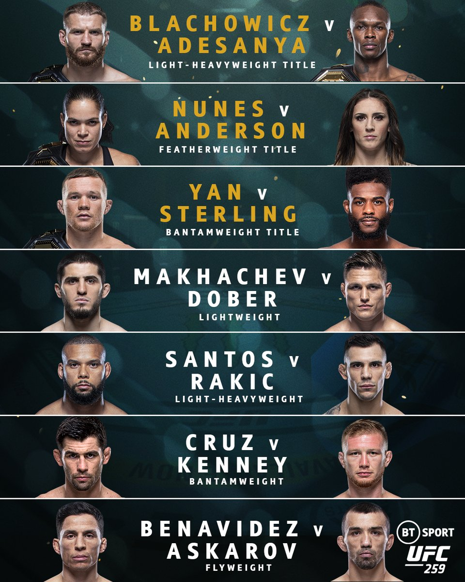 Four champions, three title fights, former champions, No.1 contenders, former title challengers, division contenders... 🤯  From the prelims to the main card, #UFC259 is insane! 🔥  One of the most stacked UFC card's ever! 💥