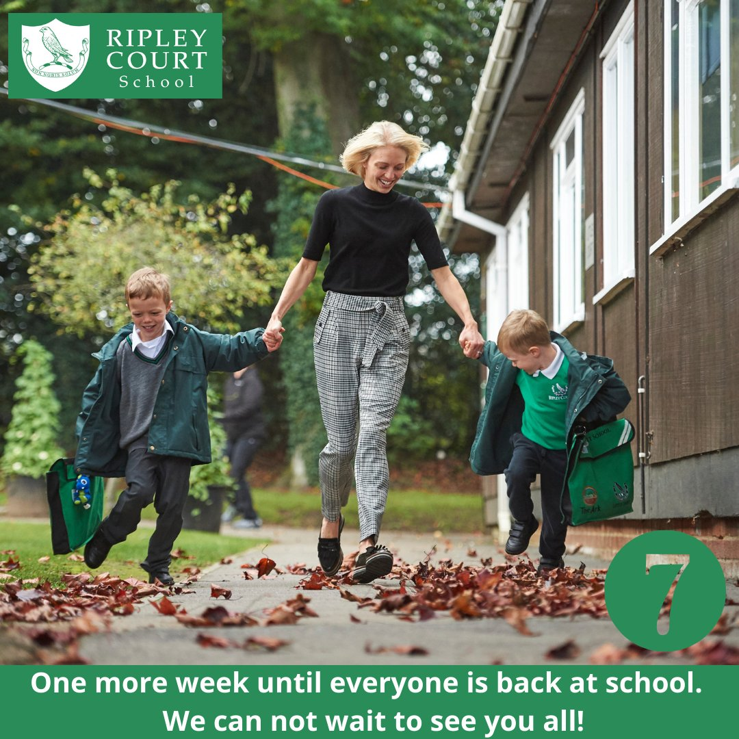 One more week to go. Are you excited?  We are!  #RipleyCourtPrep #BackToSchool #Lockdown2021 #DiscoverRipley #RipleyVillage #RipleyCourtFamily #MondayMorning #OneWeekToGo #Woking #Guildford