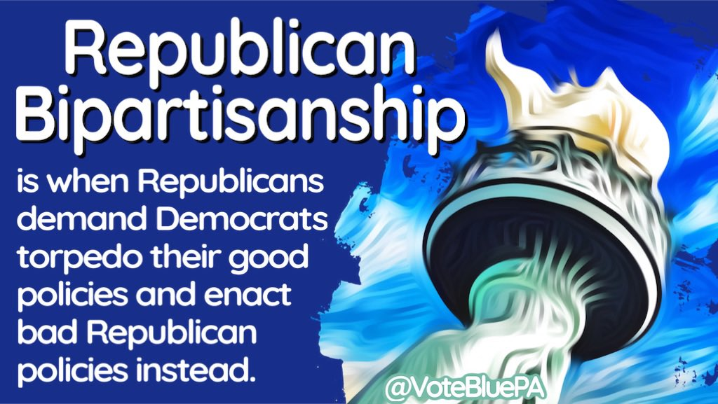 It's #MondayMorning and my #mondaythoughts #Mondayvibes #MondayMotivation are about bipartisanship.  Republicans don't understand the value of working together to solve big problems - even during a pandemic and economic crisis.  #DemVoice1 #Dems4USA #VoteBlue22 #VoteBlue2022