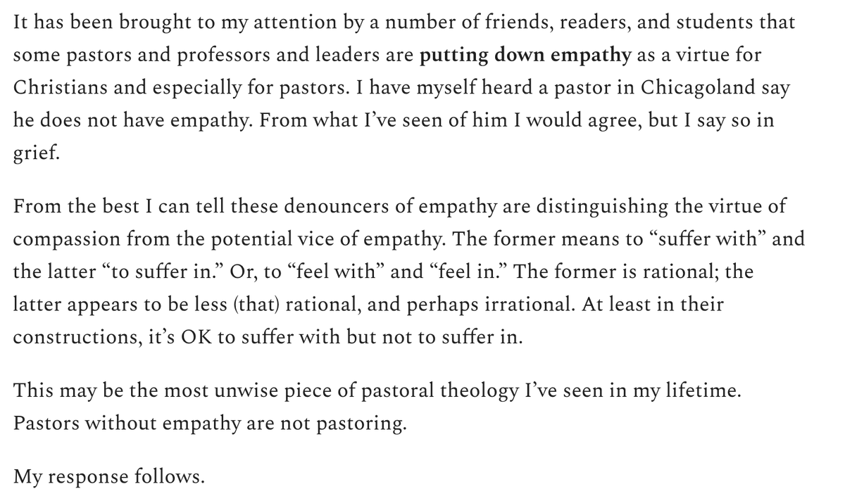 Replying to @scotmcknight: Responding to those devaluing empathy