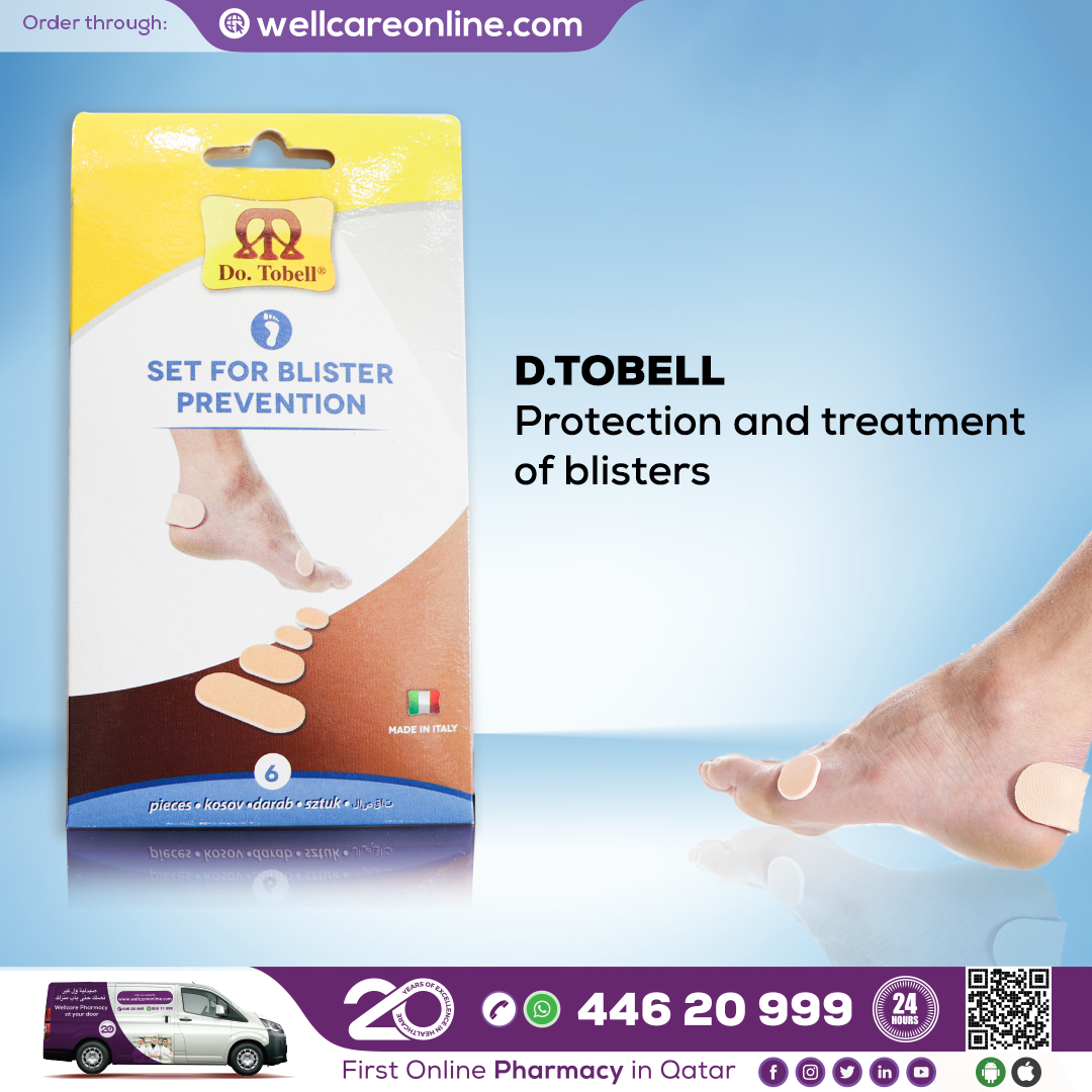 Do. Tobell blister plasters eliminate all types of #blisters from the hands and feet, providing a quick relief & promotes healing.  Order at   #blister_plaster #footcare #feet #wellness #DoTobell #pharmacy #wellcarepharmacy #doha #qatar #wellcaregroup