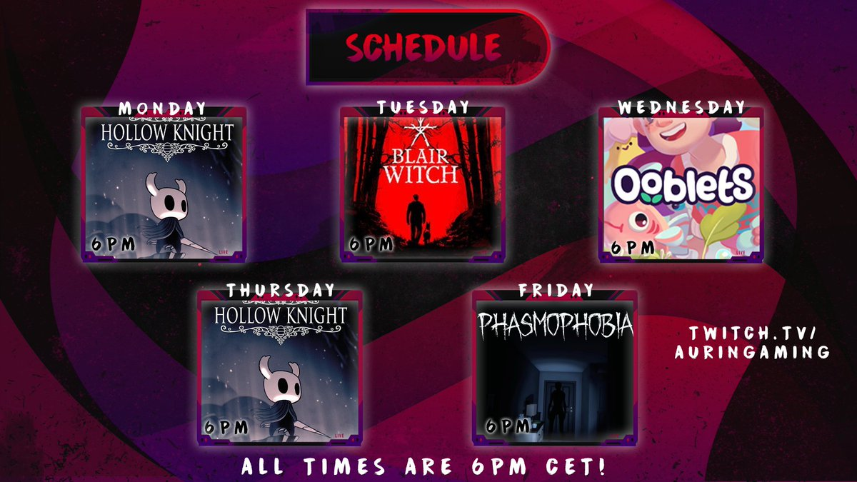 New schedule is up guys! :D  ~Mon: Hollow Knight ~ Tue: Blair Witch finale ~Wed: Ooblets ~Thu: Hollow Knight ~Fri: Phasmophobia   ✨HOPE TO SEE YOU LOVELY PEOPLE THERE!✨