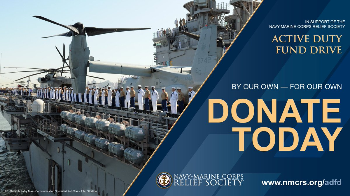 It's Day 1 of the Active Duty Fund Drive for NMCRS! Your donation supports financial assistance & education, Budget for Baby® workshops & Visiting Nurses. Donate today.  #Donate #Give #nonprofit #change #Navy #Marines #Military #Veterans @USNavy @USMC